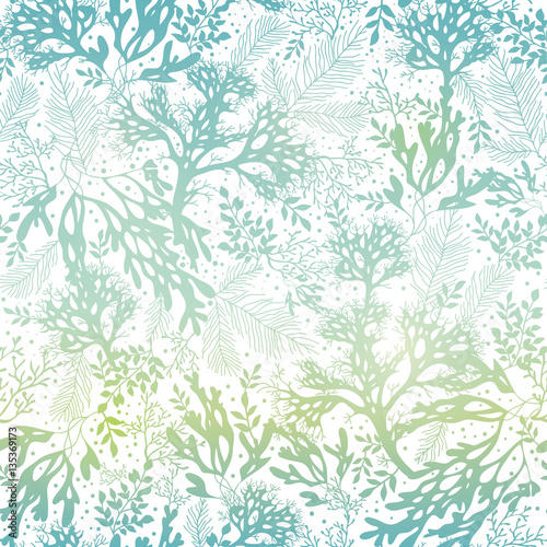 Vector Blue Freen Seaweed Texture Seamless Pattern Background Great
