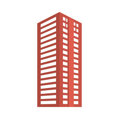Red city building line sticker image icon, vector illustration
