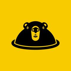 Happy Groundhog Day. Funny cute marmot looking out of a burrow, silhouette. Rodent, black icon isolated on yellow background. Pictogram  woodchuck. Vector illustration flat design.