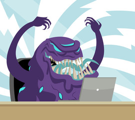 evil black goo using a computer