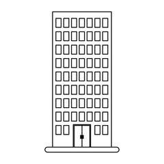 figure city building line sticker image icon, vector illustration