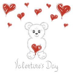 Abstract background. Cute teddy bear with hearts. Love cards wedding , Valentine's Day, date. It can be used as greeting card, poster, banner, template, invitation.