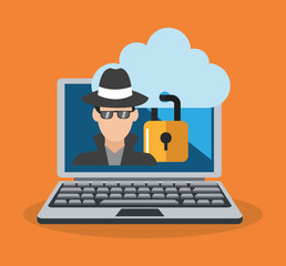 computer with hacker man and padlock icon over orange background. colorful design. vector illustration