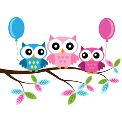 Owl Mom, boy and girl on a branch with air balloons