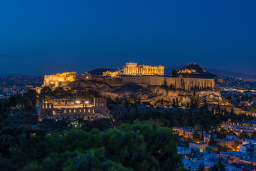 view of the city at night, Athens, Greece