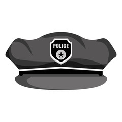 grayscale hat police icon image, vector illustration