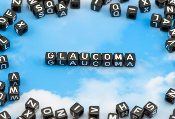 The word Glaucoma on the sky background