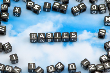 The word Rabies on the sky background