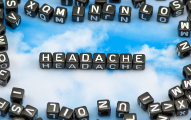 The word Headache morning on the sky background