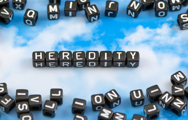 The word heredity on the sky background