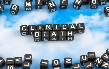 The word clinical death on the sky background