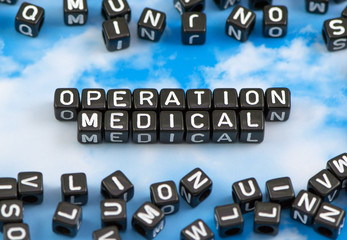 The word operation medical on the sky background