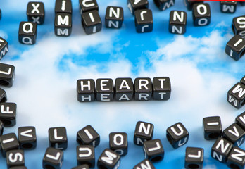 The word Heart on the sky background