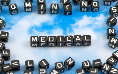 The word Medical on the sky background