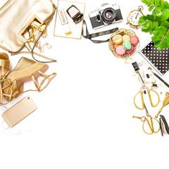 Fashion flat lay Feminine accessories bag shoes social media