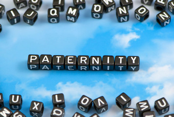 The word Paternity on the sky background