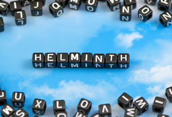 The word helminth on the sky background