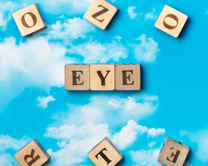 The word Eye on the sky background