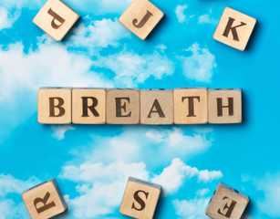 The word Breath on the sky background