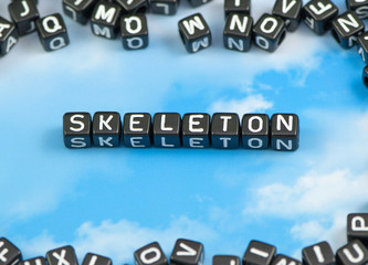 The word Skeleton on the sky background