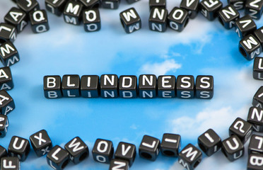 The word Blindness on the sky background