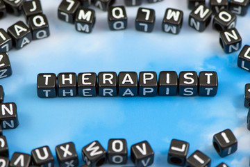 The word Therapist on the sky background