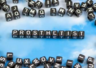 The word Prosthetist on the sky background