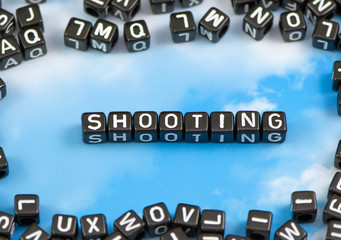 The word shooting on the sky background
