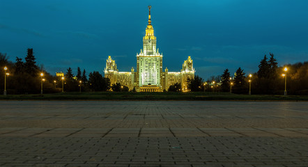 MOSCOW - OCTOBER 30: Evening view of the Moscow State University with a large number of lamps in the evening on OCTOBER 30, 2013 in Moscow, Russia.