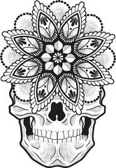 Vector illustration of a mandala skull shaded with dots