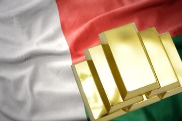 shining golden bullions on the madagascar flag