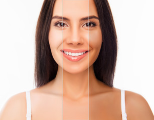 Brunette happy woman face with different color skin
