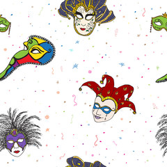 Venice Italy carnival masks seamless pattern. Hand drawn sketch Italian Venetian festival. Doodle Drawing background.
