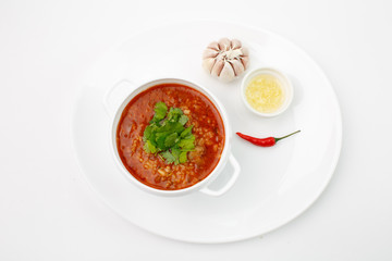 the Jewish soup in Odessa on a white background