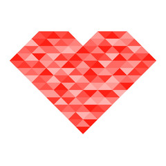 Abstract heart shape consist of red triangle on white background