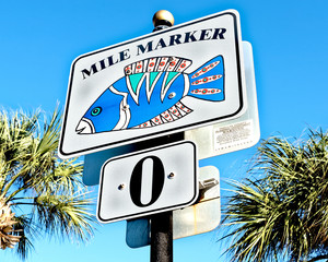Mile Marker 0 on the beach