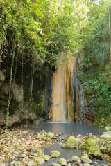 Saint Lucia volcanic waterfall at Diamond Botanical gardens