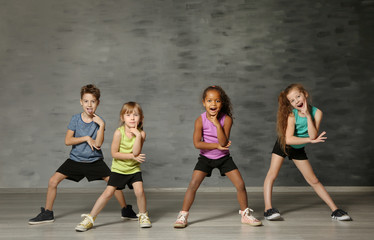 Foto op Canvas Dance School Cute funny children in dance studio