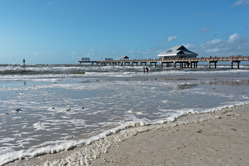 High winds kicking up sea foam on  Clearwater Beach