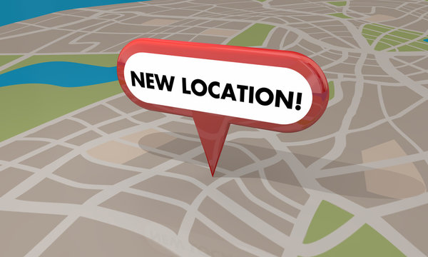 New Location Store Business Grand Opening Pin Map 3d Illustratio