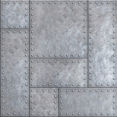Wall Mural - Old metal plates with rivets seamless background or texture