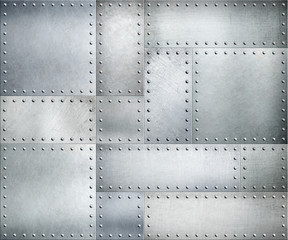 Wall Mural - Metal plates with rivets background or texture