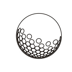black silhouette with golf ball vector illustration