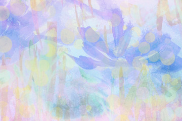 Abstract nature hand painted blurred background with graphic illustration