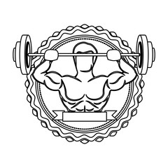 contour sticker border with muscle man lifting a disc weights and label vector illustration