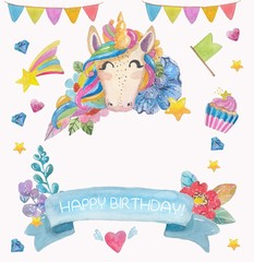 Cute watercolor flower background with magic unicorn
