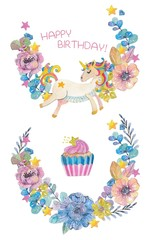 Cute watercolor wreaths with magic unicorn and flowers