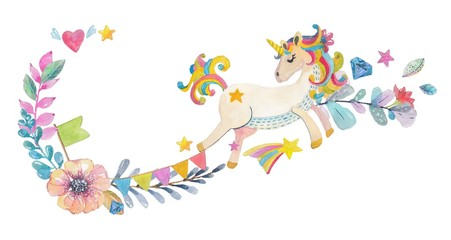 Cute watercolor design with magic unicorn and flowers