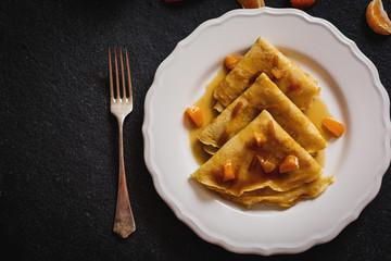 Pancakes with tangerine