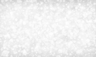 white background with sparkling out of focus bokeh blur design, defocused elegant fancy Christmas  lights, blurred white falling snowflakes or rain on gray